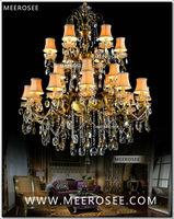 Large 3 Tiers 24 Arms Crystal Chandelier Light Fixture Antique Brass Luxurious Crystal Lustre Lamp MD8504 L24 D1150mm H1400mm