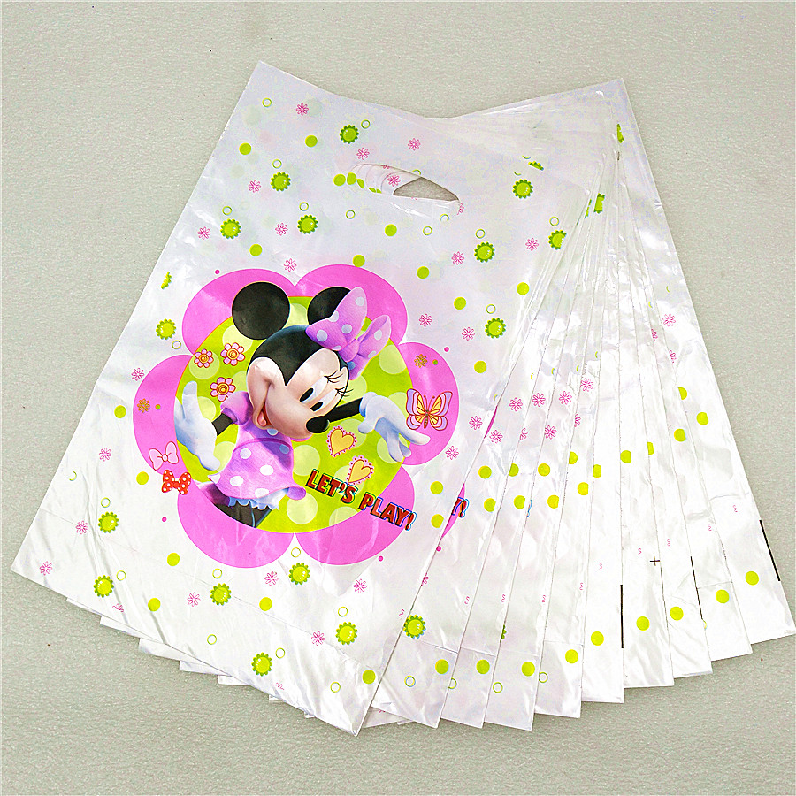 10pc minnie mouse birthday party decoration supplies gift bags baby shower cartoon kids boy plastic sweet candy/gift/loot bags
