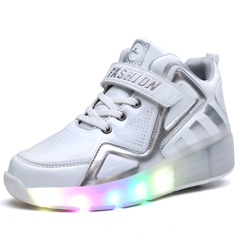 2017 New Children LED Light Shoes With One/Two Walking Wheels Kids Pu Leather High Help Roller Skate Boys and Girls Sneakers children roller sneaker with one wheel led lighted flashing roller skates kids boy girl shoes zapatillas con ruedas