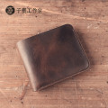 2017 New women men Handmade Genuine Leather Wallet cow leather wallet retro short men vintage crazy horse gift wallet bag
