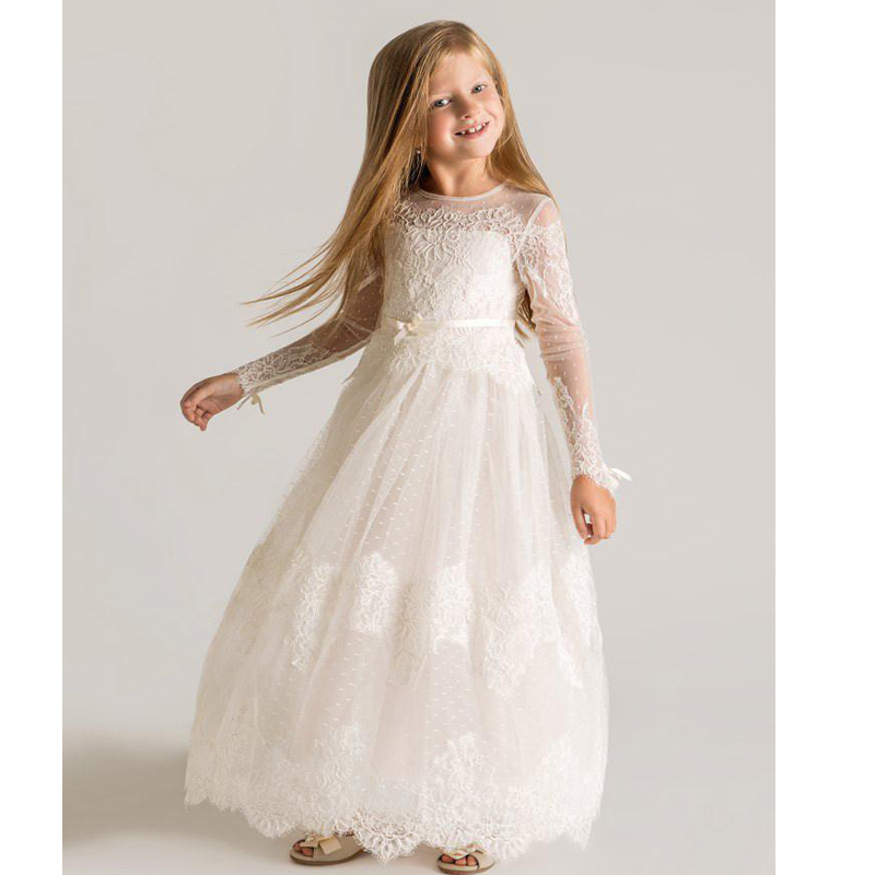 Online Get Cheap Vintage Lace Flower Long White Dress Girls ...