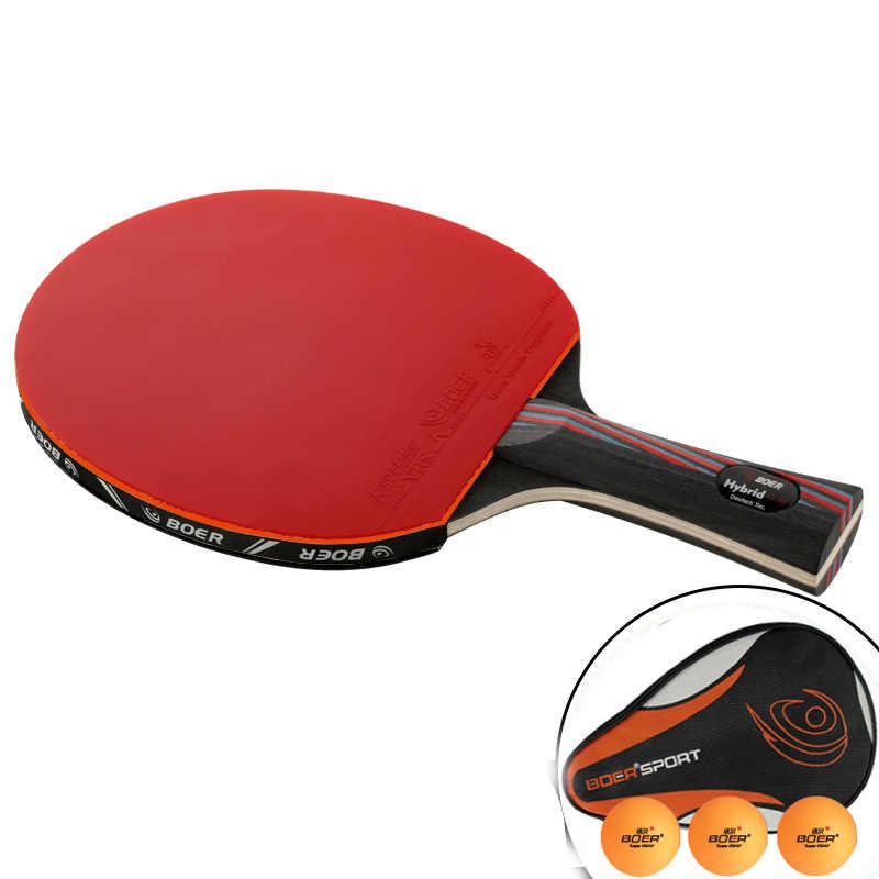Raquetas profesionales de tenis de mesa, raquetas de tenis de Trianing, raquetas largas de mango corto, raqueta de Paddle de Ping Pong con bolsa de transporte