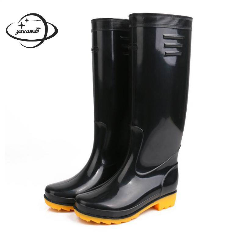 Mens Boots Spring Autumn Male Rainboots Boots Mid-calf Low Heel Round Toe Slip-on Solid Color Non-slip Man Shoes Y16