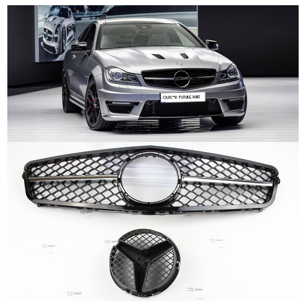 Tuning Mesh Car Front Middle ABS Grille Grill Body Parts Kit for Mercedes Benz C-Class W204 amg 2006-2013 year pp class front car mesh grill sport style fit for benz w203 c 2000 2006