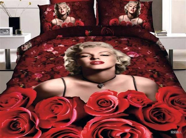 Edredon Marilyn Monroe.Juego De Ropa Cama 3d Marilyn Monroe Estampado Rosa Roja Queen Size Edredon Funda Marca En Una Bolsa Sabanas Edredones Lino Algodon