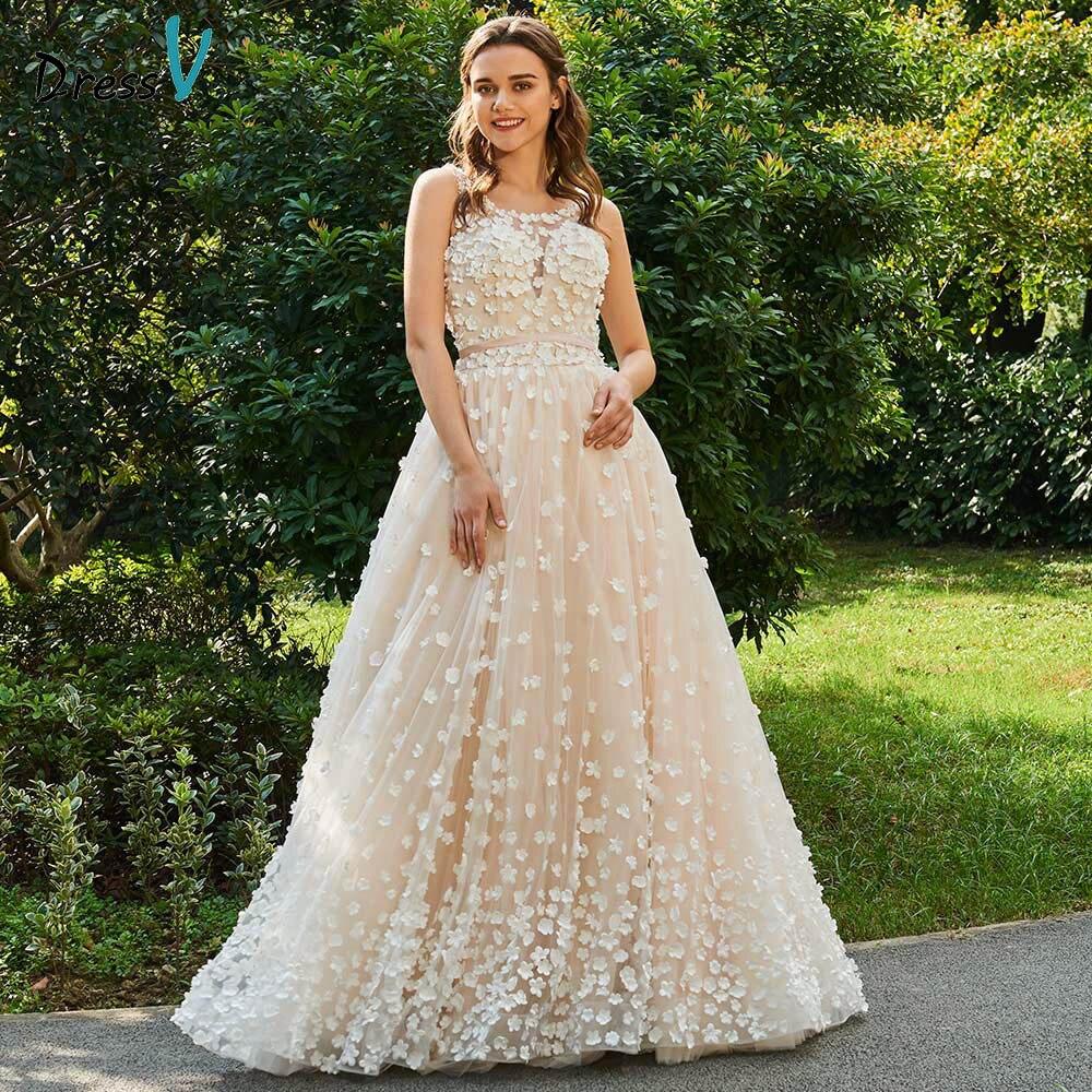 Dressv ivory wedding dress scoop neck a line bridal backless elegant outdoor&church flower appliques sleeveless wedding dresses