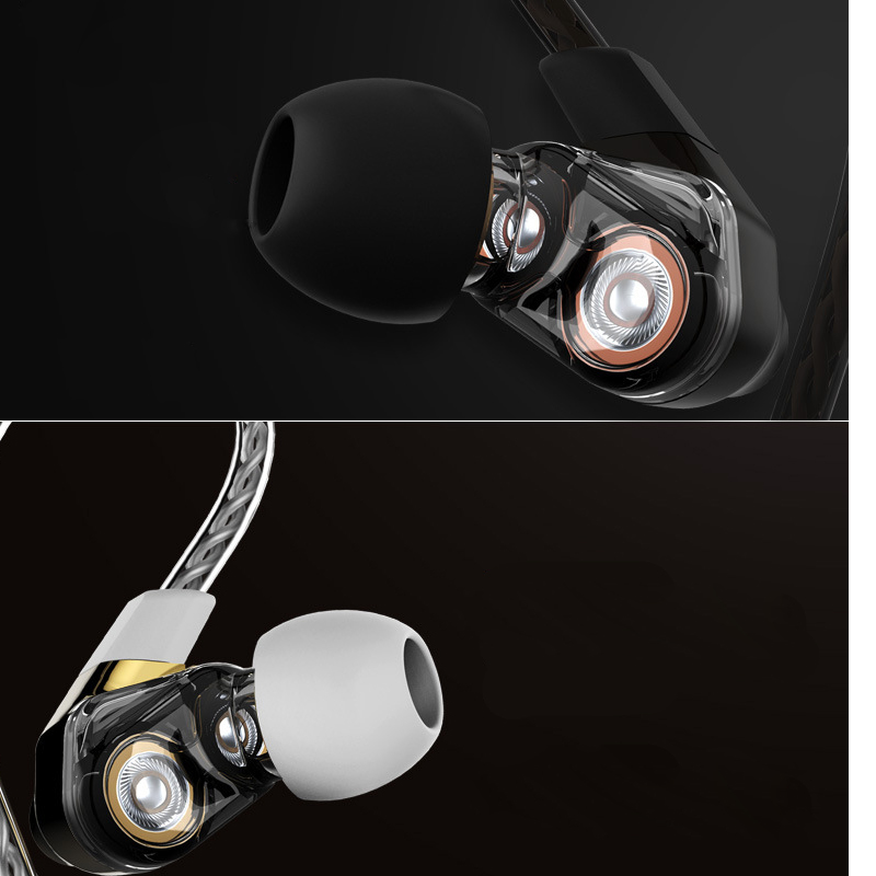 Dual Dynamic Driver Earphone Professional In Ear Earbuds Sport Detach MMCX Earphone with 4 driver inside original senfer dt2 ie800 dynamic with 2ba hybrid drive in ear earphone ceramic hifi earphone earbuds with mmcx interface