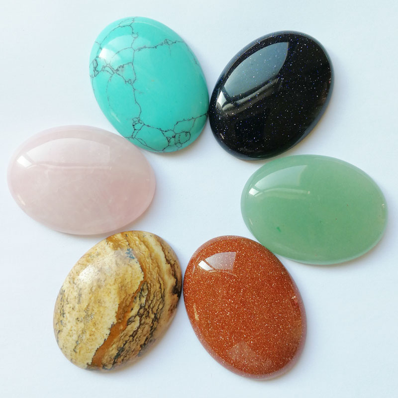 Fashion 30*40mm Mixed Natural Oval stone beads charms teardrop CAB CABOCHON for jewelry making 6pcs/lot