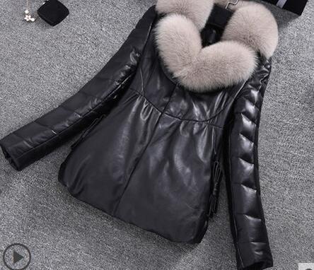 Зимняя куртка из искусственной кожи, женские пуховые хлопковые пальто, высококачественные тонкие толстые теплые парки, Женская куртка с большим меховым воротником, женская одежда - Цвет: Black