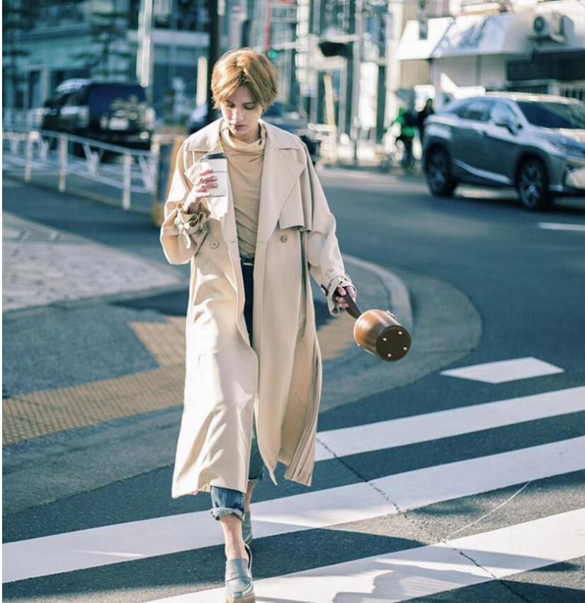 "British style Long Sleeves Autumn pleated coats women""s Long sleeve windbreaker overcoats abrigo mujer 1"