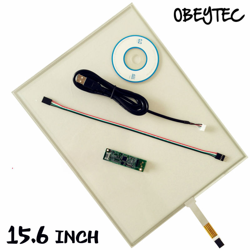 Obeytec 15.6 inches Resistive 4Wire Touch Panel for LCD monitor, with USB EETI controller, 16:9, 344*193mm 18 5inch resistive touch screen panel 429 3mmx253 6mm 4wire usb kit for monitor