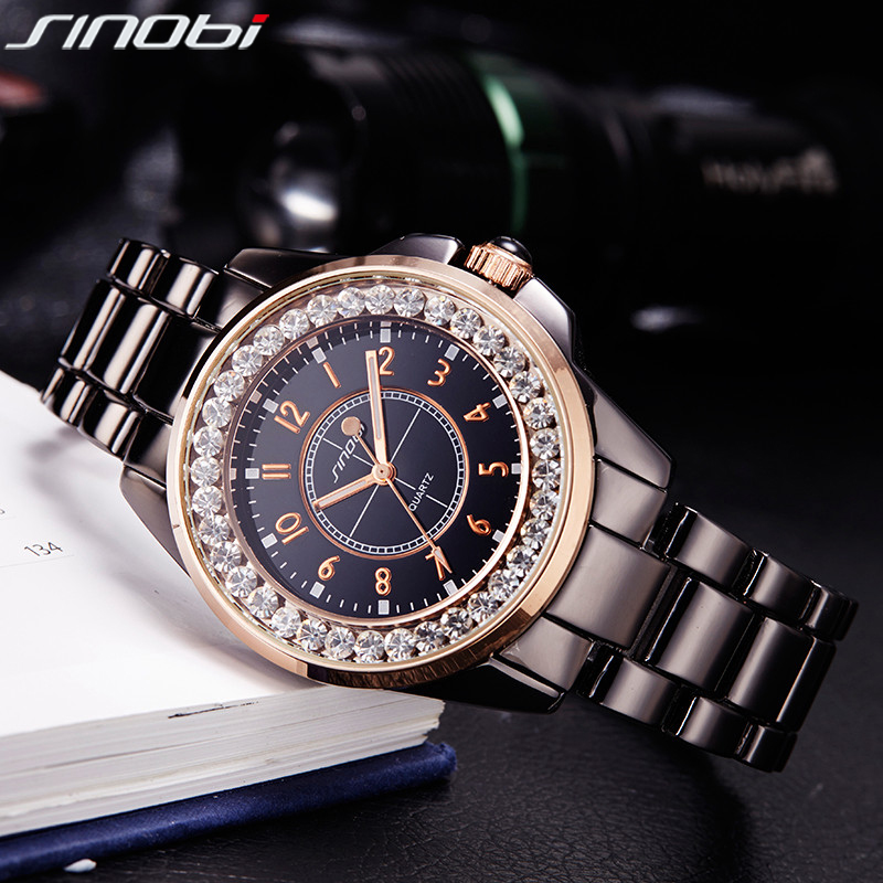 Sinobi fashion women's watches diamonds wristwatches imitation ceramics watchband top luxury brand...