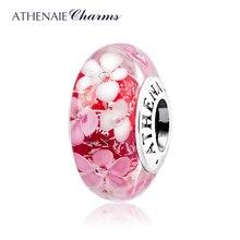 ATHENAIE cristal de Murano 925 Plata núcleo flor Rosa jardín encantos Color rosa