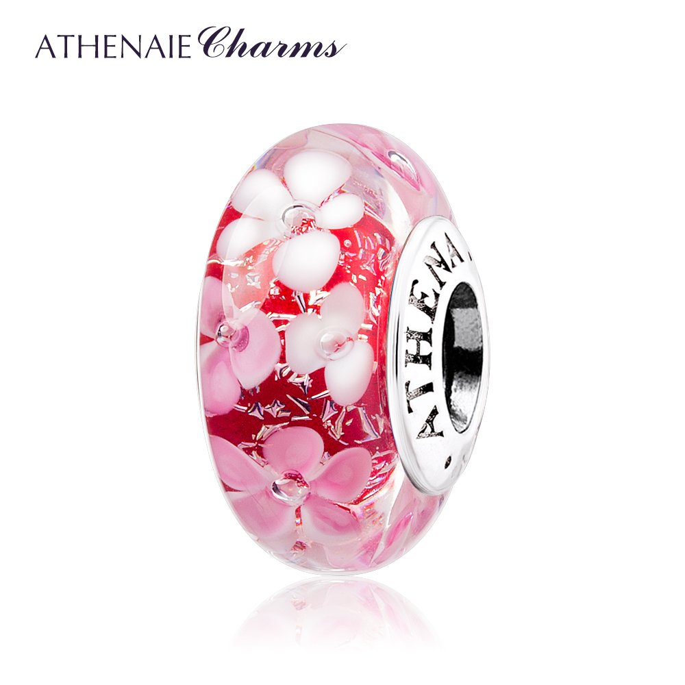 ATHENAIE Murano Glass 925 Silver Core Pink Flower Garden Bead Charms Color Pink