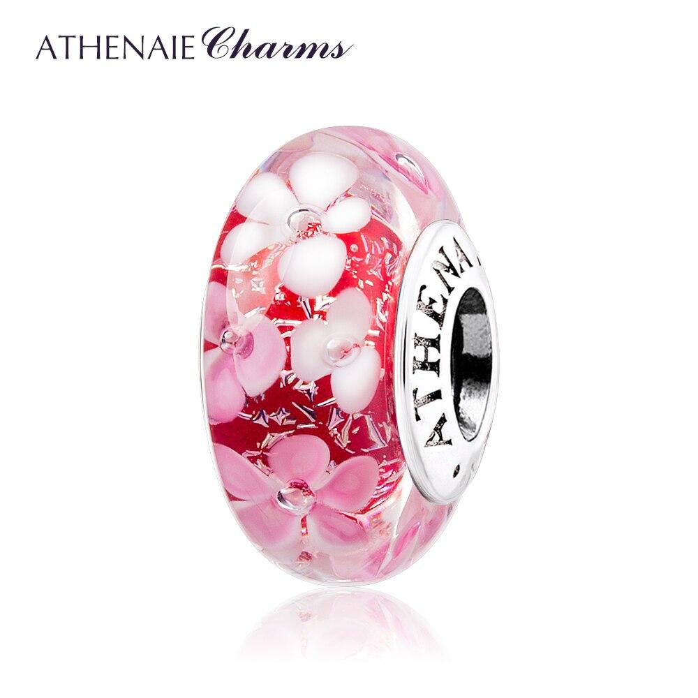 ATHENAIE Murano Verre 925 Argent Core Rose Fleur Jardin Perle Charmes Couleur Rose