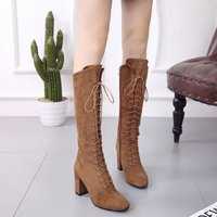 Boots 2019 Lace Up Over The Knee Boots Winter High Heel Boots Martin Women Shoes Size 43 Botas Feminina dgb789