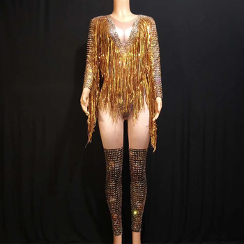 Jazz Dance Costumes Gold Fringes Rhinestones Tassel Outfit Woman Performance Clothes Fashion Hip Hop Dancing Costumes Wear DT528
