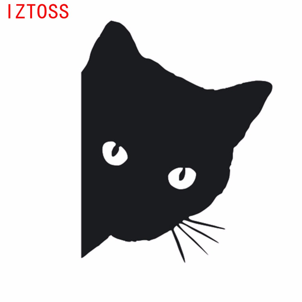 IZTOSS 12x15cm CAT face to face car stickers decals pet cat motorcycles decorative stickers windows decals