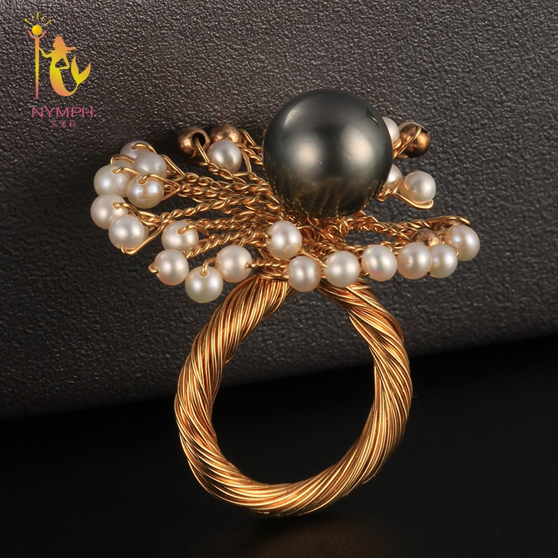 NYMPH Natural Tahitian Pearl Ring Fine Jewelry Seawater Black Pearl Rings For Women Hyperbole Wedding Party Gift Box J310 цены онлайн