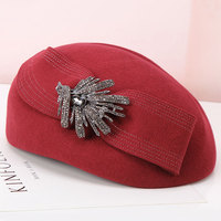 Lady Rhinestone Decorated Fedoras Hat Women's Fashion Wool Hat Girls Autumn Winter Short Brim Cap Woolen Cap Small Hat B 8936