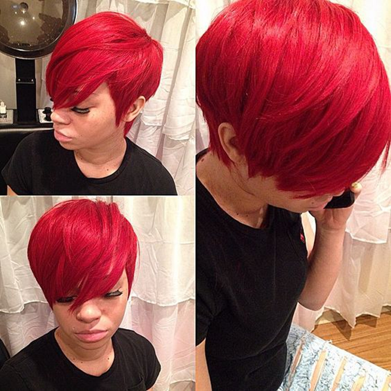 2PC 28 Pieces Short Virgin Brazilian in Human Bump Weave Hair with Free Closure and Shower Cap ...