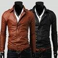 Мужчины кожаный марка мотоциклетная куртка моды для мужчин slim fit куртка мужчины пальто мужчины высокого качества кожаная куртка