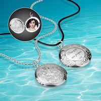 Di modo romantico FAI DA TE idee mettere le foto medaglione, 925 collane dell'argento sterlina, monili delle donne, collana Ciondolo a forma Circolare