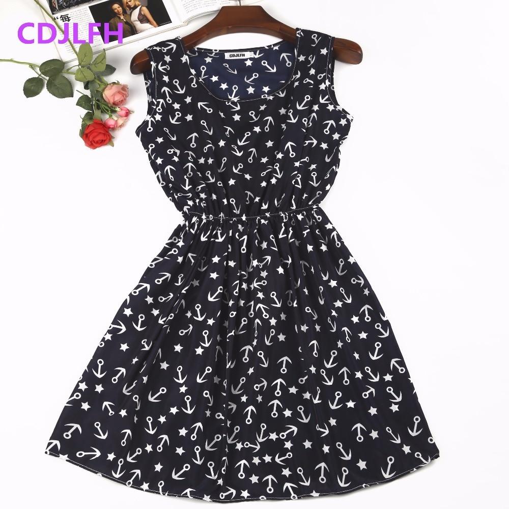 Женское платье без рукавов, Пляжное, шифоновое, с о-образным вырезом, винтажное, синее, 2020