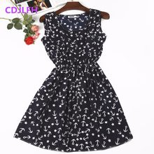 2018 Sexy Summer Autumn Print Vestidos Women Casual Bohemian Floral Sleeceless Vest Slim Beach Chiffon O-neck Dress Vintage Blue(China)