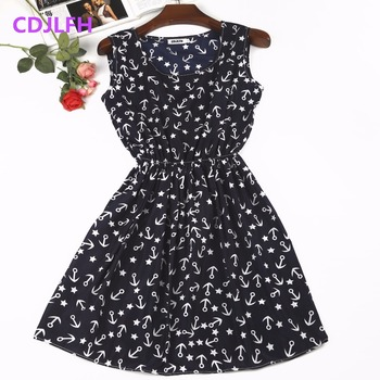 2020 Sexy Summer Autumn Print Vestidos Women Casual Bohemian Floral Sleeceless Vest Slim Beach Chiffon O-neck Dress Vintage Blue