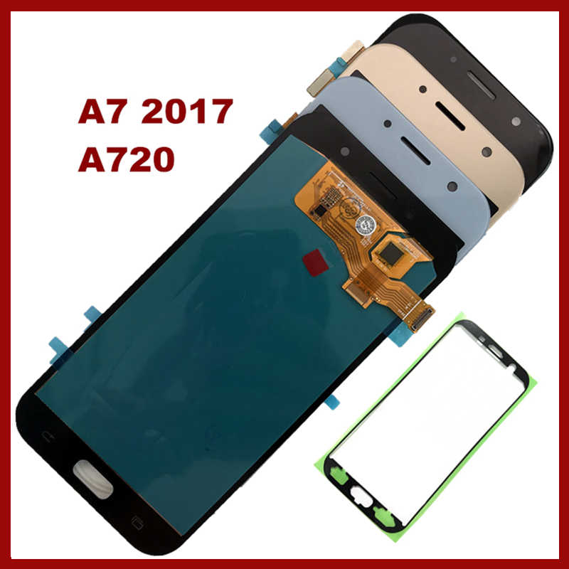 100% سوبر AMOLED شاشات lcd لسامسونج غالاكسي A7 2017 A720 A720F A720M SM-A720F عرض مجموعة المحولات الرقمية لشاشة تعمل بلمس استبدال