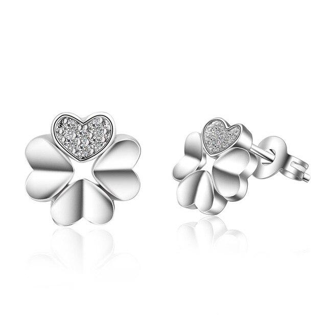 bb85e1bd4 100% 925 Sterling Silver Jewelry Lucky grass Flash Silver Earrings Stud  Earrings Four Leaf Clover Stud Earrings Top Quality!