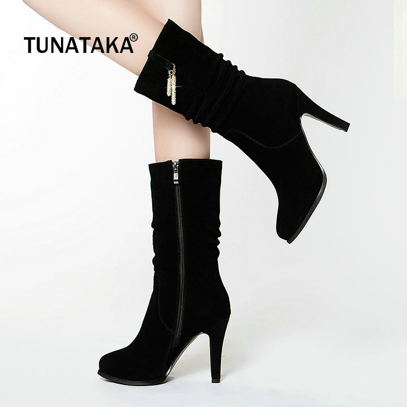 Suede Platform Thin High Heel Woman Mid Calf Boots Fashion Side Zipper Party Calf Boots Woman Black hot selling chic stylish black grey suede leather patchwork boots mid calf spike heels middle fringe boots side tassel boots