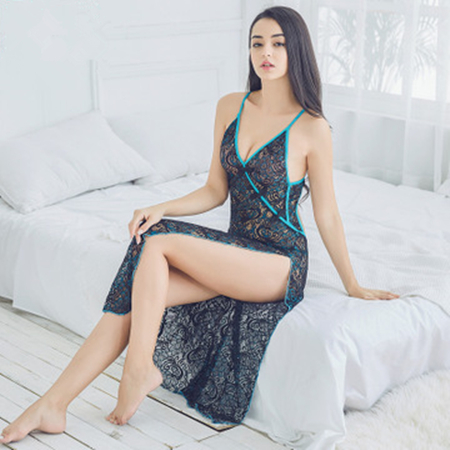 Daeyard Women's See-Through Nightgown Sexy Lace Hollow-Out Long Nightdress Backless Sleepwear High Slit Peacock Floral Cheongsam