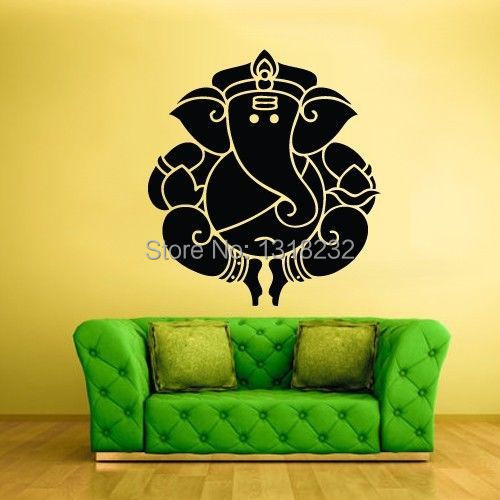Large Wall Stickers For Living Room India Walls Decor ᗕ Religion Statuevinyl Decal Ganesh Elephant Buddha Mural Art Sticker Bedroom Home Decoration