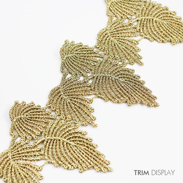 Gold Metallic Trim Leaf Embroidered Applique Patch Trims Fabric Lace Ribbon Trimming Scrapbooking Diy Sewing Supplies 1Y