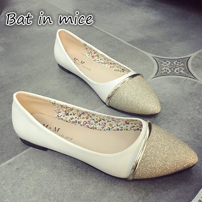 Autumn spring new PU leather women flat white shoes pointed toe plus size soft bottom leisure flat colorful shoes woman S125 spring autumn women loafer pointed toe pearl comfortable women flats shoes slip on fashion pu leather women s flat with shoes