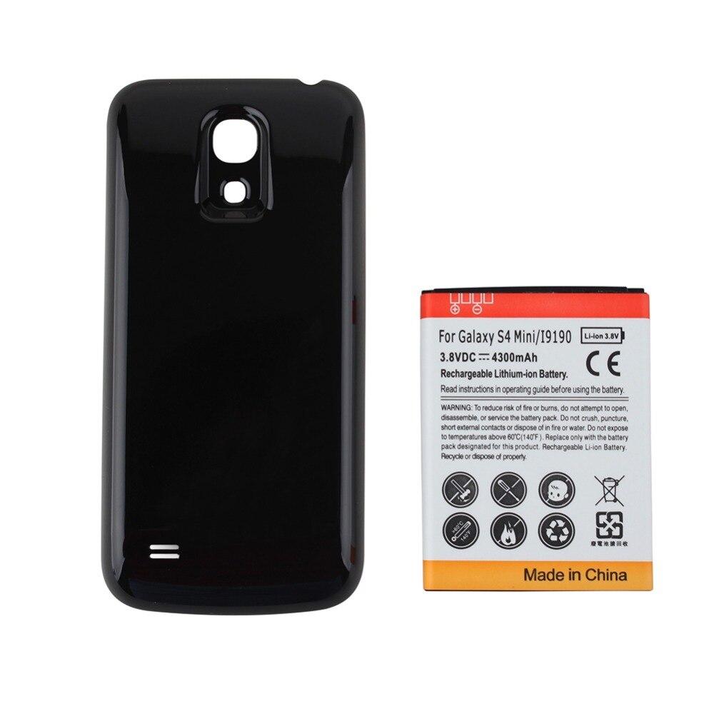 Haute Capacité 4300 mAh Remplacement Avancée Téléphone Batterie pour Samsung Galaxy S4 mini i9190 + Noir de Couverture Arrière pour Galaxy SIV mini