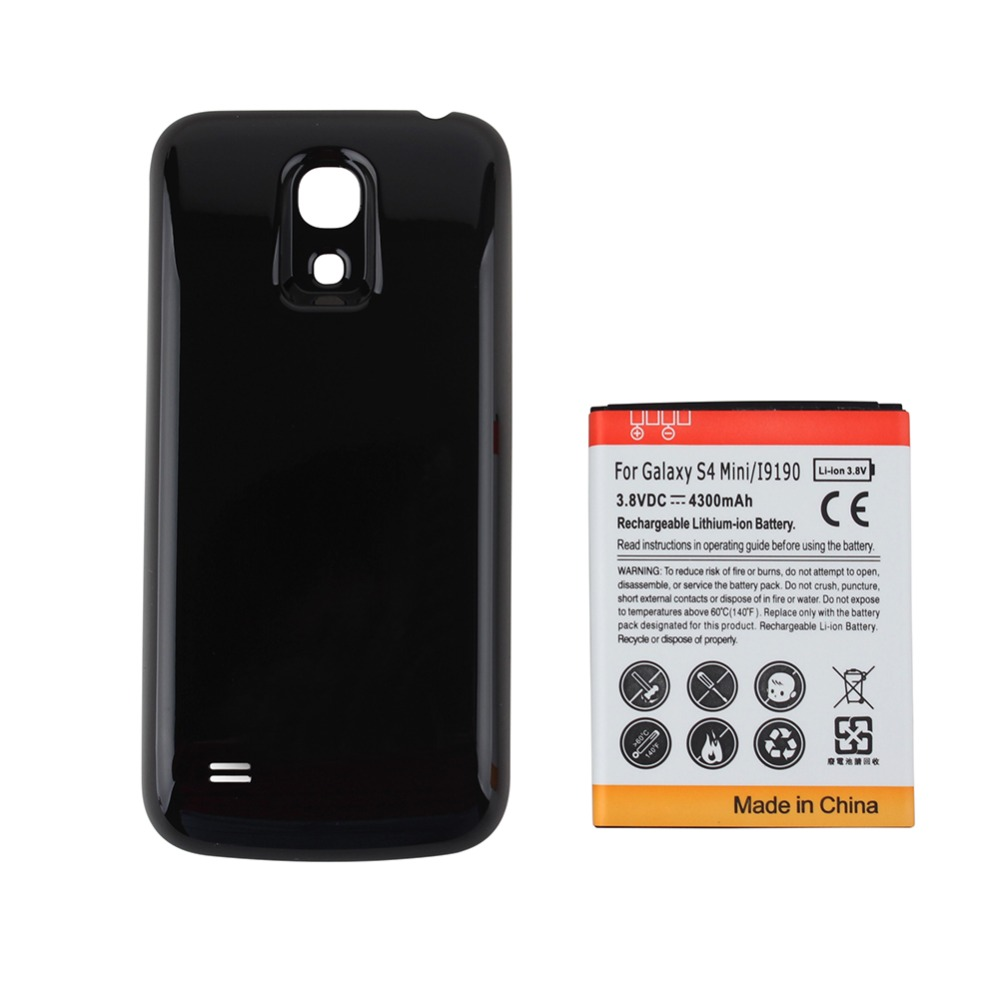 High Capacity 4300mAh Replacement Extended Phone Battery for Samsung Galaxy S4 mini i9190 + Black Back Cover for Galaxy SIV mini