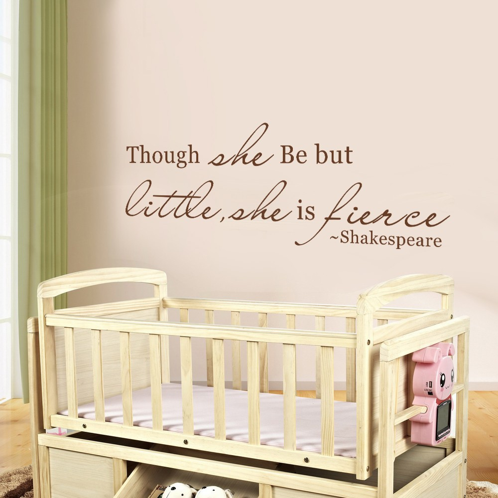 aliexpress com buy shakespeare quotes though she be but little aliexpress com buy shakespeare quotes though she be but little she is fierce baby nursery girls vinyl wall decal quote 34