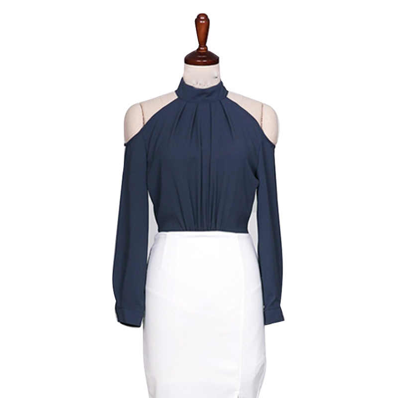 aee82b7acb3cd New 2019 Spring Women Sexy Club Navy Blue Halter Shirts Sashes Bow Off  Shoulder Backless Long Sleeve Blouses Ladies Tops Blusas