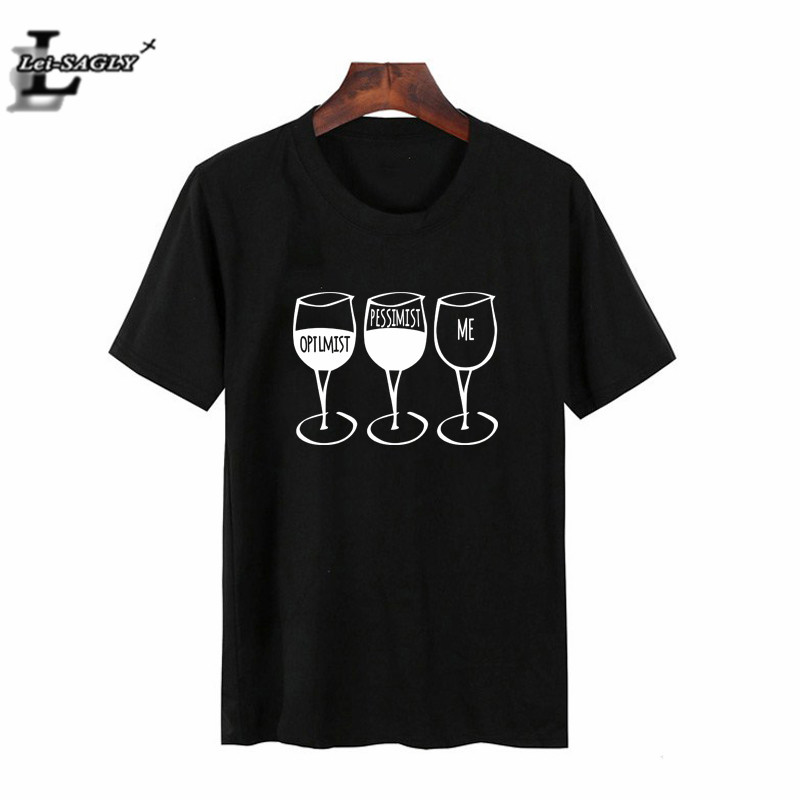 Lei SAGLY <font><b>Wine</b></font> Glasses Print Funny Letter Print Women T <font><b>Shirt</b></font> Summer Short Sleeve White Black Casual O-neck Tshirt Fashion Tees image