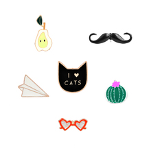 Bear sunglasses ice cream cat cactus plane Enamel Cute Pins Set For Child Girls Clothing Accessories I love cat Cartoon Brooches