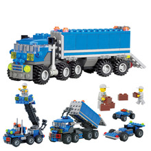 163pcs Plastic Building Blocks Car Model Toys for Children Dumper Truck DIY Intelligent Baby Boy Toy Cars