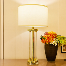 TUDA Transparent Crystal Glass Column Table Lamps For Bedroom Living Room Golden Color Lamp Home Decor