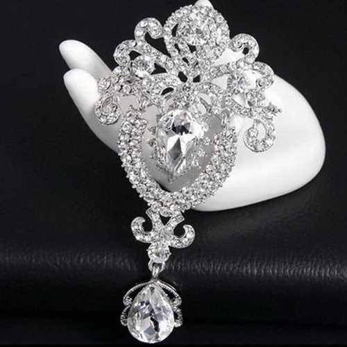 Baru Wanita Besar Bunga Mahkota Pengantin Bros Peniti Kristal Berlian Imitasi Perhiasan Pesona