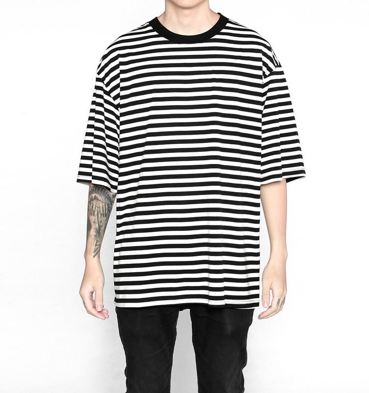 1954ee07549d9 B0 2017 SS men stripe oversize short sleeve T-shirt cotton comforatable men  hip hop