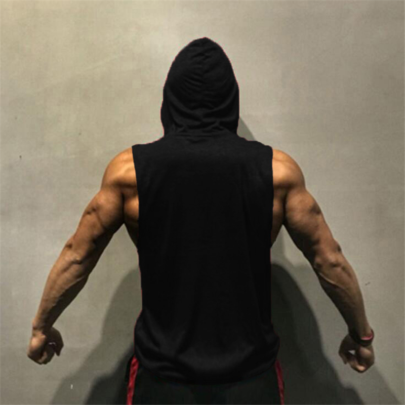 Mens Bodybuilding Stringer Workout Gym Hoodie Tank Top Fitness Hooded Sweater#