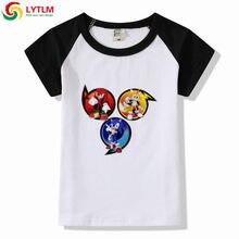 060d25160 LYTLM dzieci Cartoon Sonic The Hedgehog T-shirt dziewczyna śmieszne ubrania  dla niemowląt maluch chłopiec