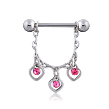 2PCS New Arrival Dangle Nipple Rings Heart Crystal Stainless Steel Women Bar Barbell Piercing Nipple Rings Sexy Body Jewelry